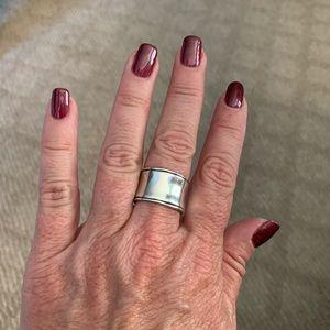 Hammered cuff ring